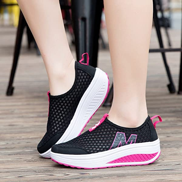 01b13770993 L LOUBIT Women Sneakers Comfort Slip On Wedges Shoes Breathable Mesh  Walking Shoes for Women