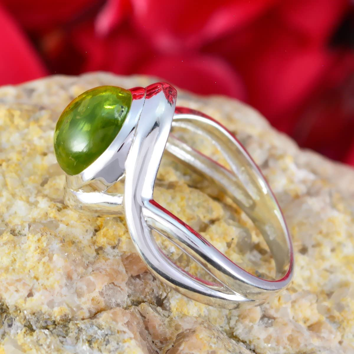 Jewelry Accessories top Selling Items Gift for New Years Day Stacking Rings Sterling Silver Green Peridot Real Gemstones Ring Real Gemstones Round cabochon Peridot Ring