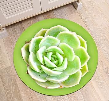 Grünes Aeonium Kaktus Blumenmuster Badematte Runde Bereich Teppich ...
