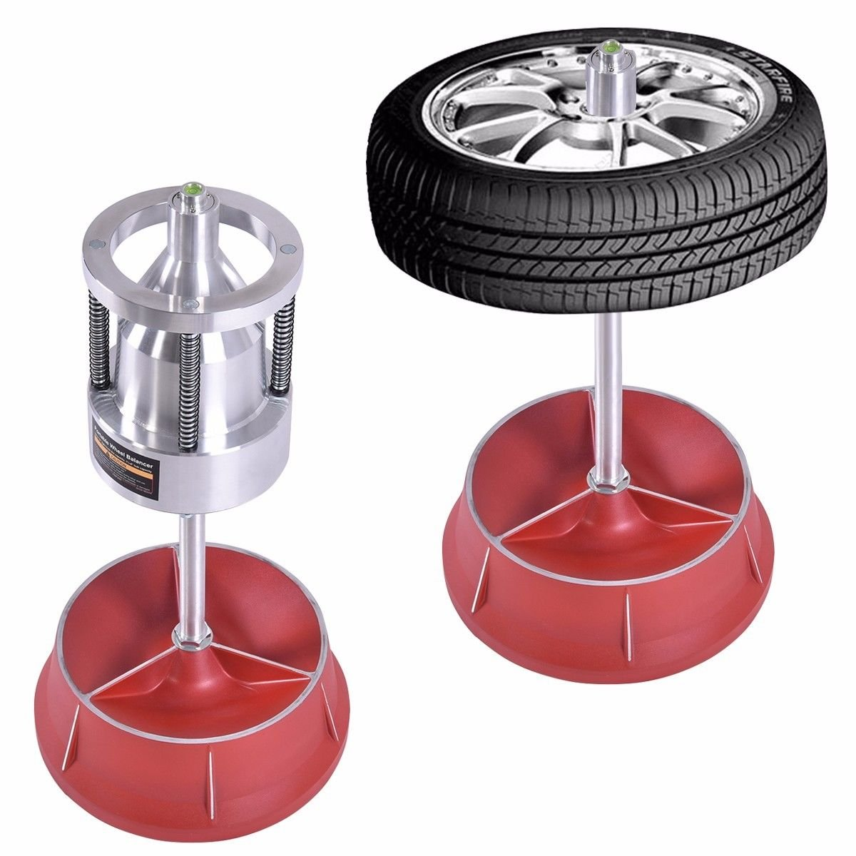 Pro Portable Hubs Wheel Balancer W/ Bubble Level Heavy Duty Rim Tire Cars Truck - Easily balance wheels with hubs from 1-1/2'' to 4'' diameter by Nice1159 (Image #1)