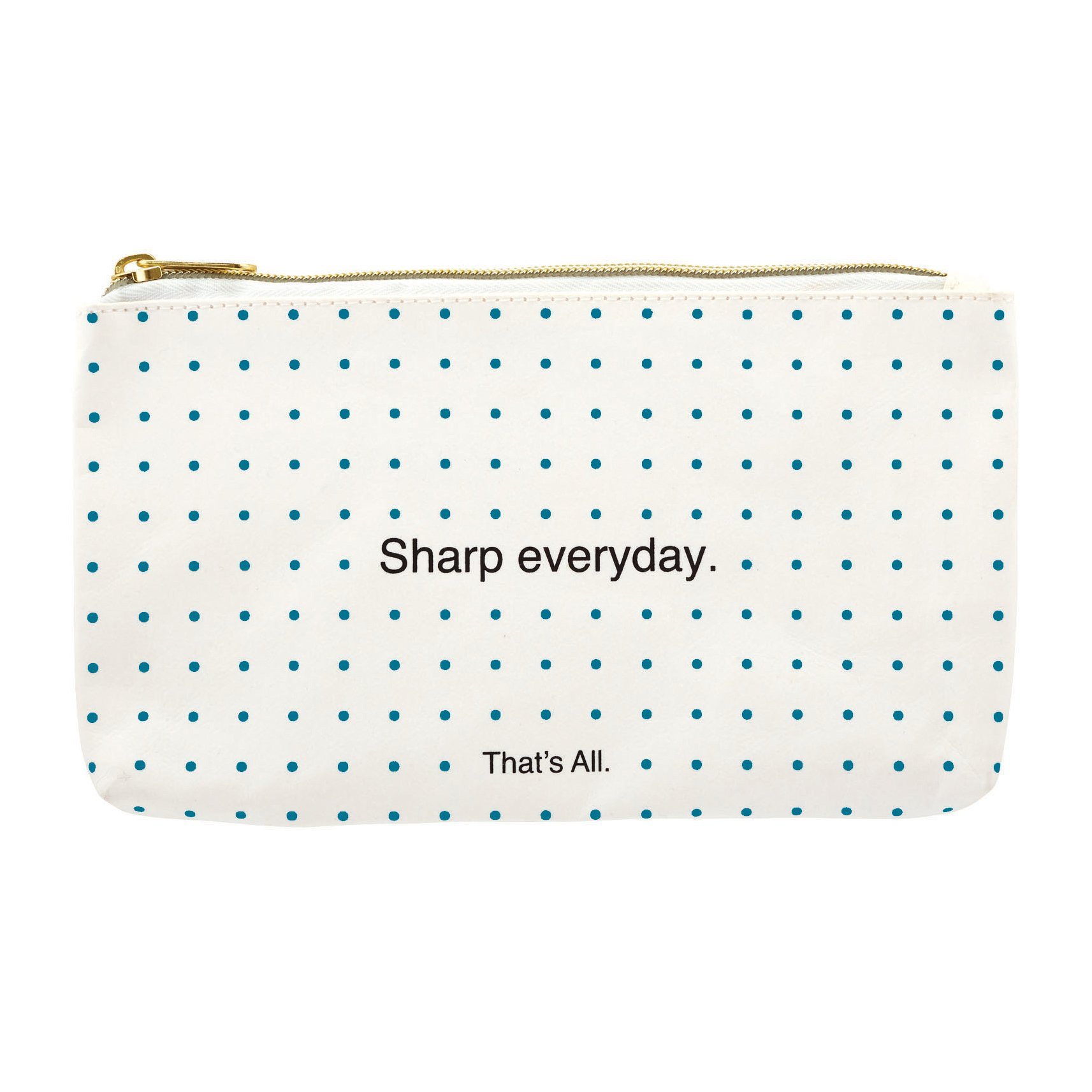 Sharp Everyday White Blue Polka Dot 8 x 4 Inch Washable Paper Pencil Case Pouch by That's All