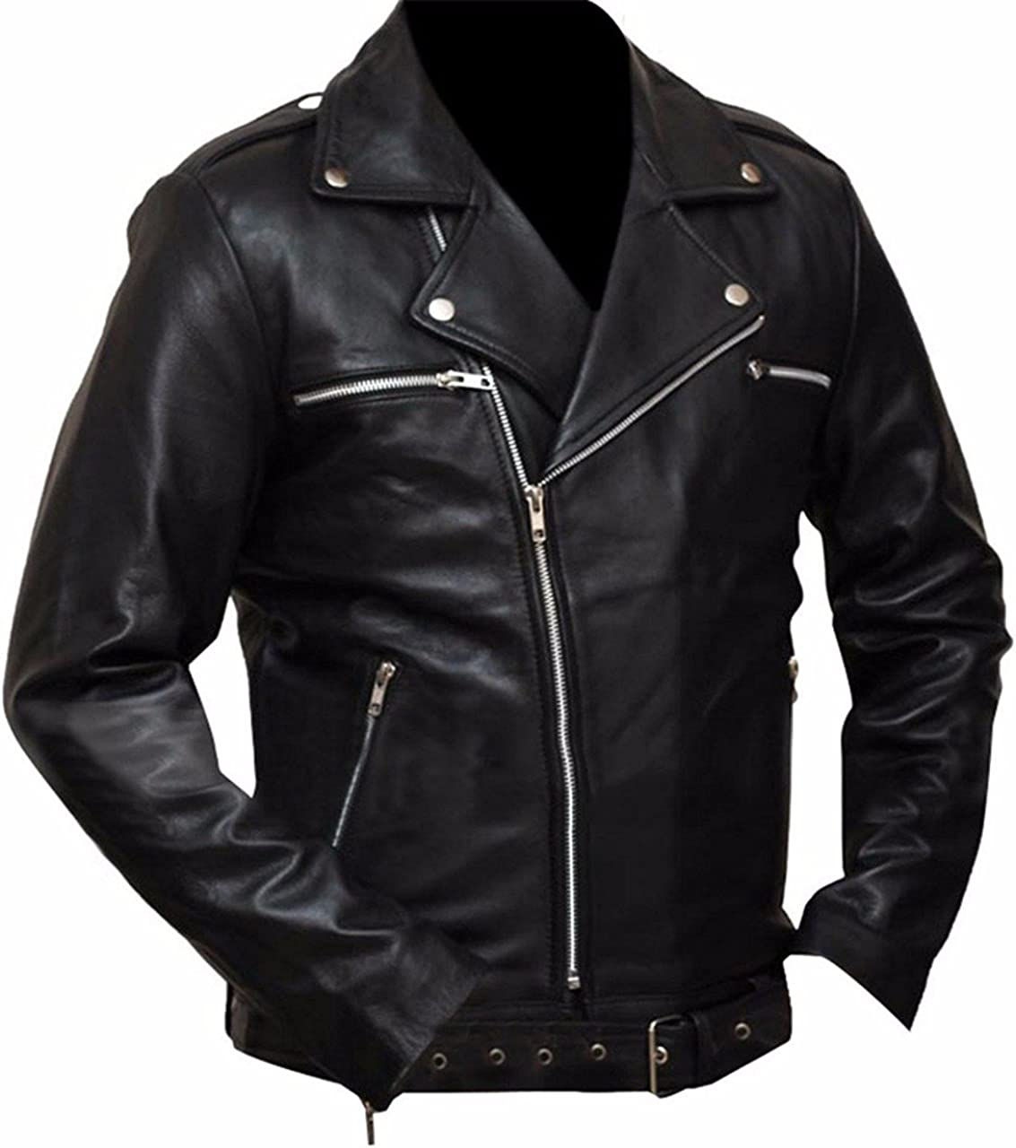 Stormwise Mens Fashion Brando Style Walking Dead Leather Jacket