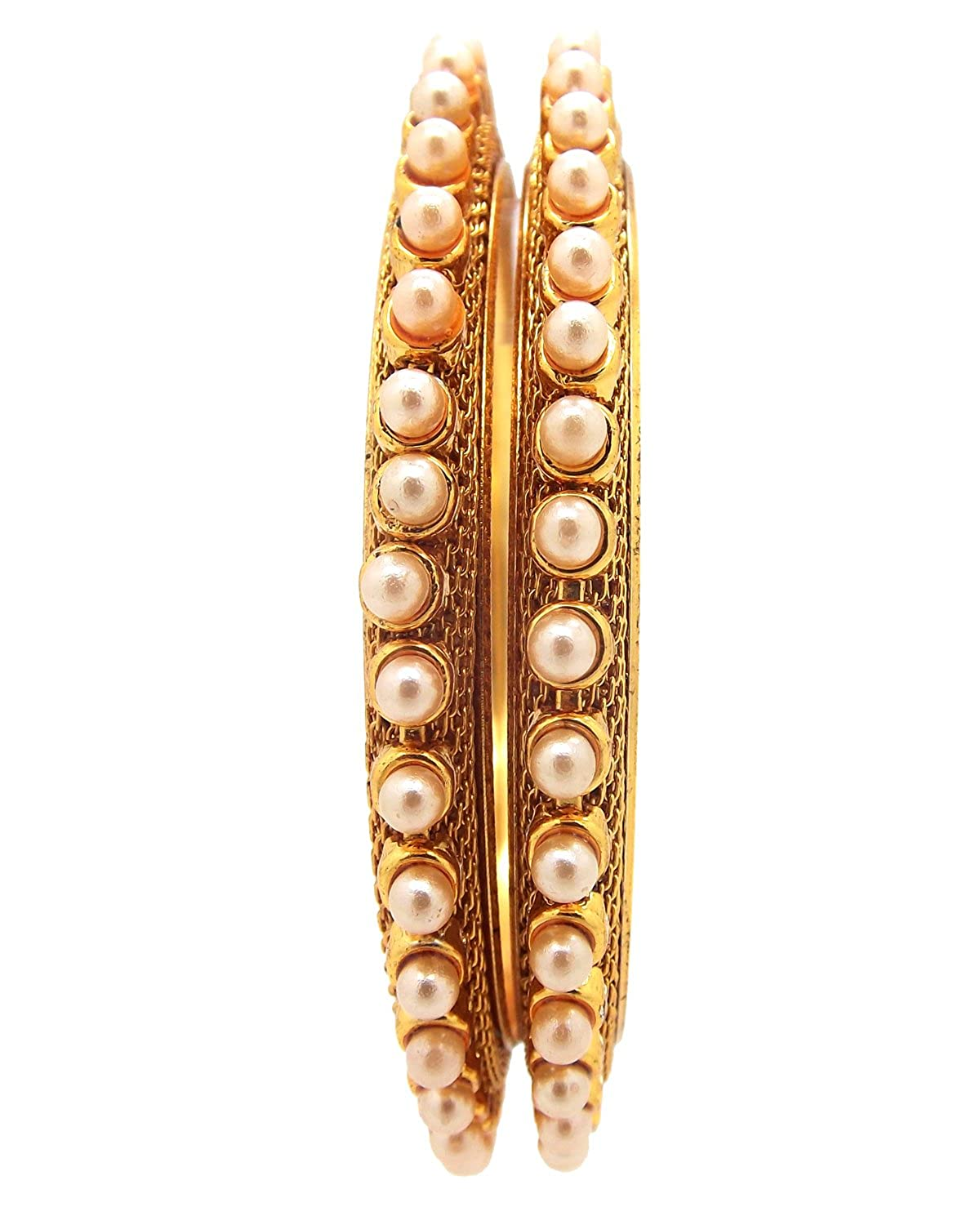 Biyu Pearl Collection CZ White Stone Gold Plated 2pc Bangles for Womens Girls