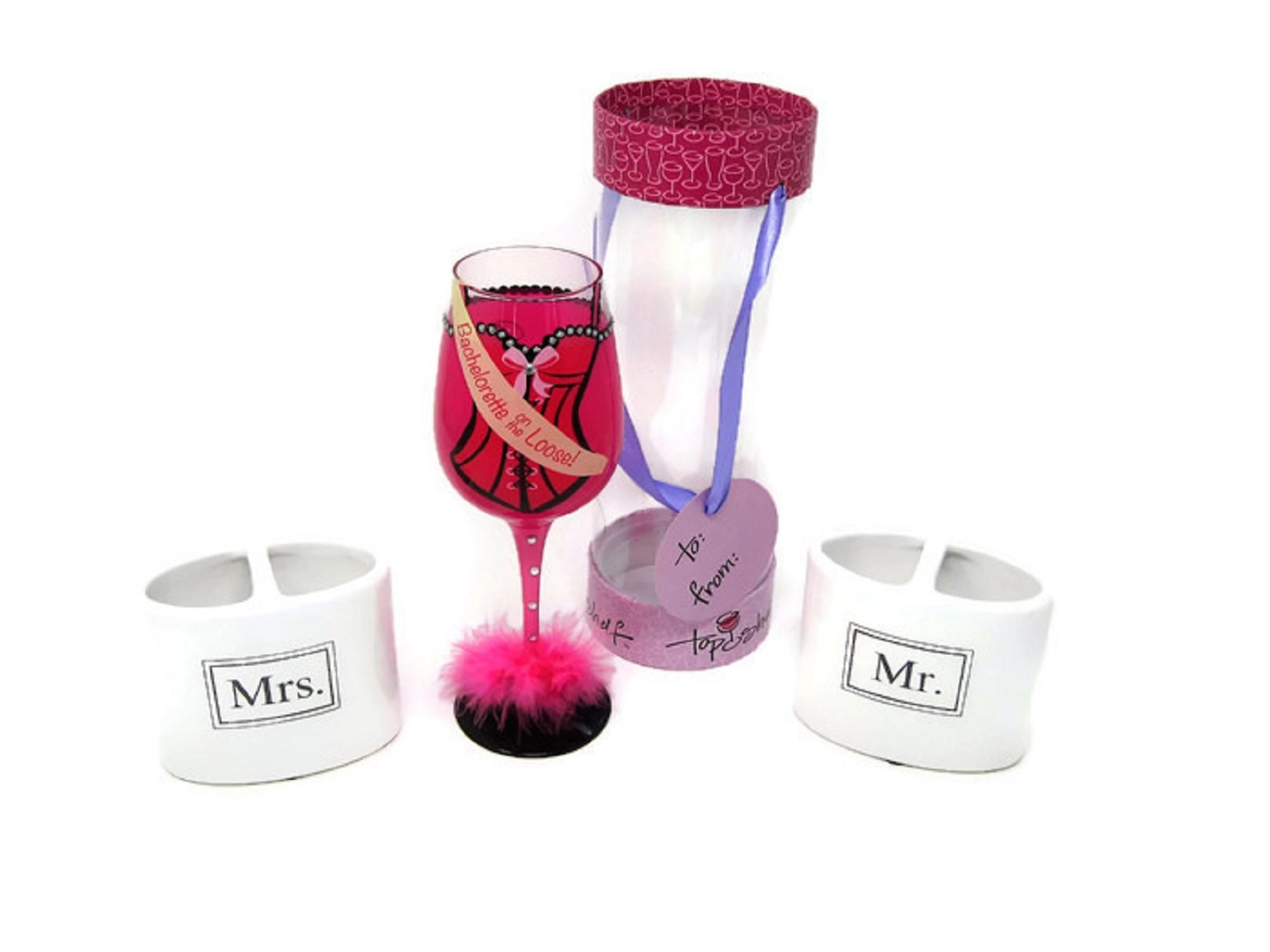 Top Shelf Girls Gone Bridal Bachelorette on The Loose Wine Glass with Mr & Mrs Toothbrush Holders