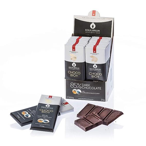 Tableta de Chocolate Negro Ecológico │ 40 gr │ Chocolate Suizo 85% Cacao con Curcumina, Comino Negro, Inulina y Potasio │ Equilibrium Food: Amazon.es: ...