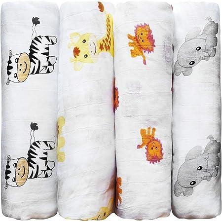 CuddleBug Mantas de Muselina Unisex - 4x Pack - Muselinas para Bebé tipo Paños de Algodón 100% - Sabanas de Cuna de Tamaño Grande 120x120cm - Mantas de Bebé Suaves y Multiusos - Safari Friends