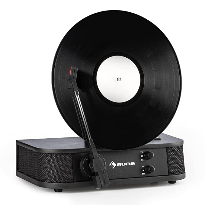 auna Verticalo S • Record Player with Loudspeaker • Vertical Turntable •  Belt Drive • Magnetic Puck • MP3-Compatible USB Port • 3 Speed Options •