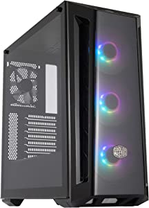 Cooler Master MasterBox MB520 ARGB ATX Mid-Tower with ARGB Lighting System, Three 120mm ARGB Fans, Tempered Glass, Front DarkMirror Panel with Mesh side Intakes