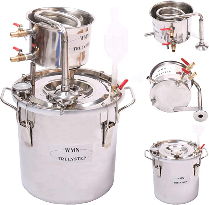 12L,Red copper AnBt DIY Home Distiller Moonshine Still Water Alcohol Brandy Vodka Distiller Brew Kits with Thermometer and Condenser 3-16 Gallon//12-60Liters