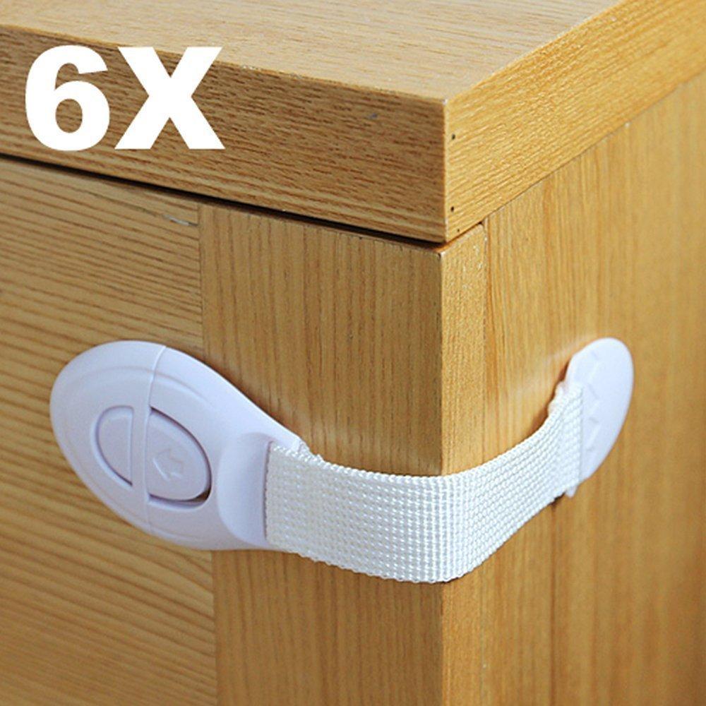 homiki 6 X Enfant infantile bébé Sécurité appareil réfrigérateur tiroir placard Porte Armoire Réfrigérateur tiroir Verrouille de sécurité prolongée