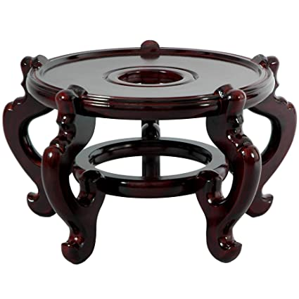 Merveilleux Oriental Furniture Rosewood Fishbowl Stand   Size 9.5 In. Base Diameter