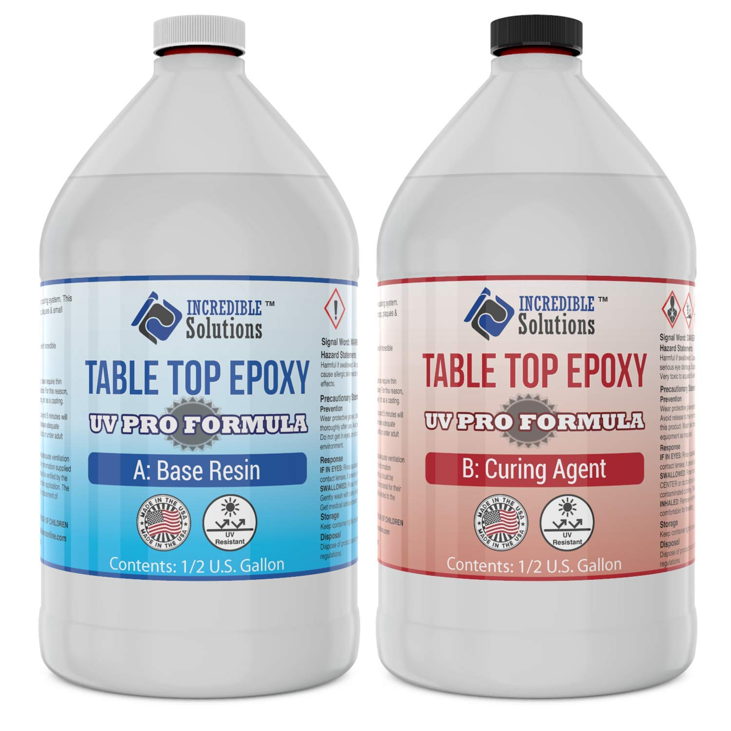 Epoxy Resin Crystal Clear, Table Top & Bar Top Epoxy Coating UV PRO FORMULA, Enhanced UV Resistance For TableTops & Resin Art, 1 Gallon Kit by Incredible Solutions