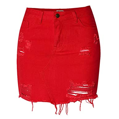 3546e9399 Exllocity Summer Women Sexy Streetwear High Waist Short Denim Skirt Hollow  Out Tassel Bodycon Cowgirl Mini