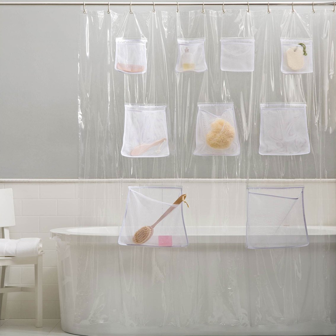 Amazon Sweet Home Collection 100 PEVA 70 X 72 Shower Curtain Treated To Prevent Chlorine And Odor With 9 Mesh Pockets For Bath Storage