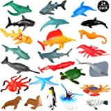 Sea Ocean Animals Plastic Pool Toys Set (24 Pack) for Party Favor Supplies - Display Model Play Set Realistic Deep Sea Animal