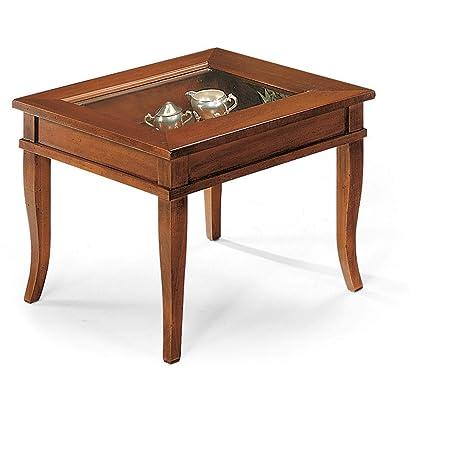 Tavolino Da Salotto Arte Povera.Milanihome Tavolino Salotto Quadrato Bacheca Tinta Noce Piano