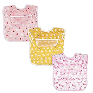 3 Pack Baby & Toddler Waterproof Bib Short Sleeve Feeding Bibs Smock Set for Girl Boy with Pocket & Food Crumb Catcher | Stain and Odor Resistance | 6 Months - 2 Years