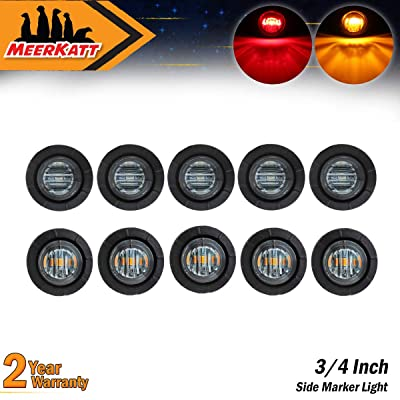 Meerkatt (Pack of 10) 3/4 Inch Mini Round Smoked Lens 5 Amber + 5 Red LED Side Marker Indicator Light Clearance Lamp Boat RV Bus Truck Trailer Jeep Pickup Car Waterproof 12V DC black rubber grommets: Automotive
