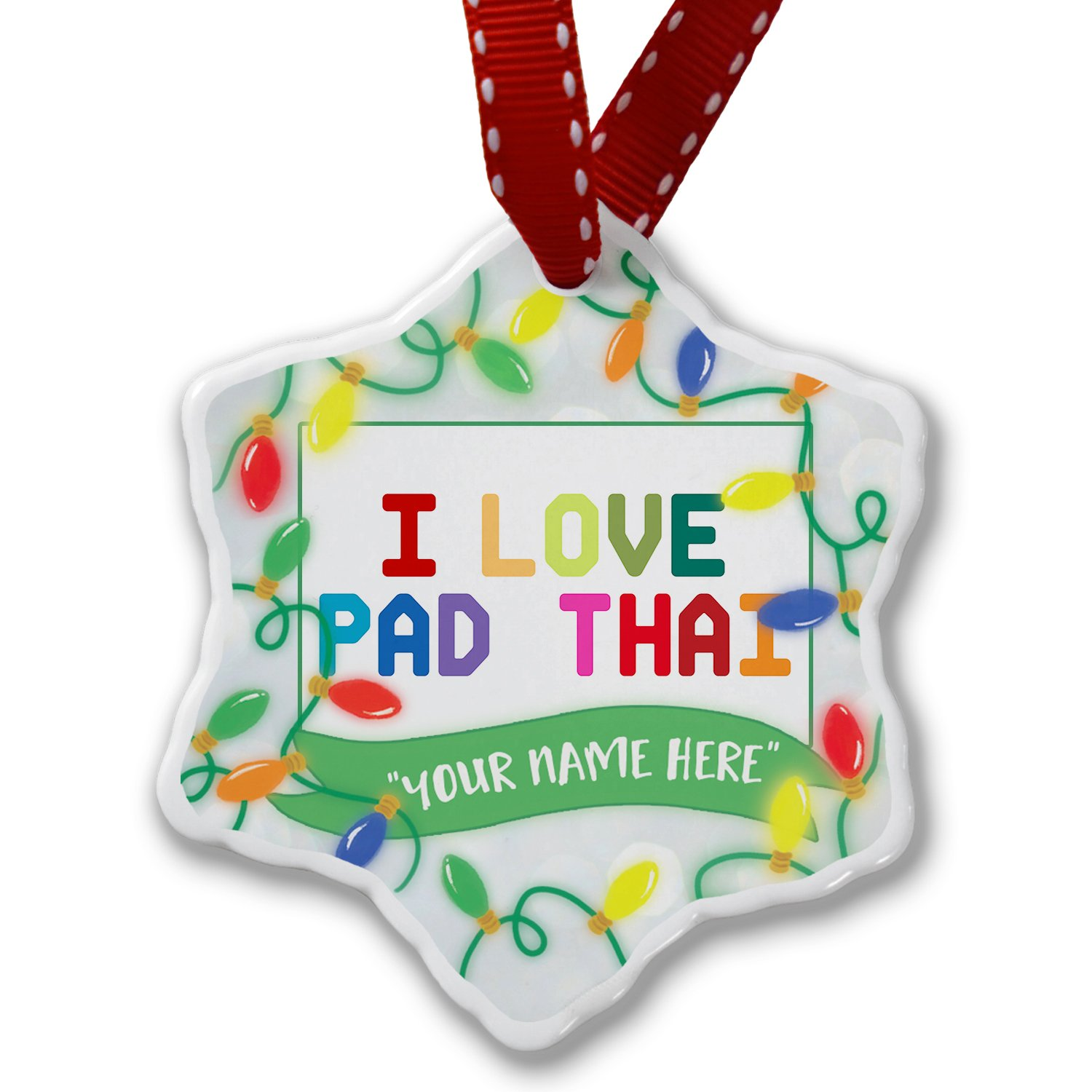 Personalized Name Christmas Ornament, I Love Pad Thai,Colorful NEONBLOND