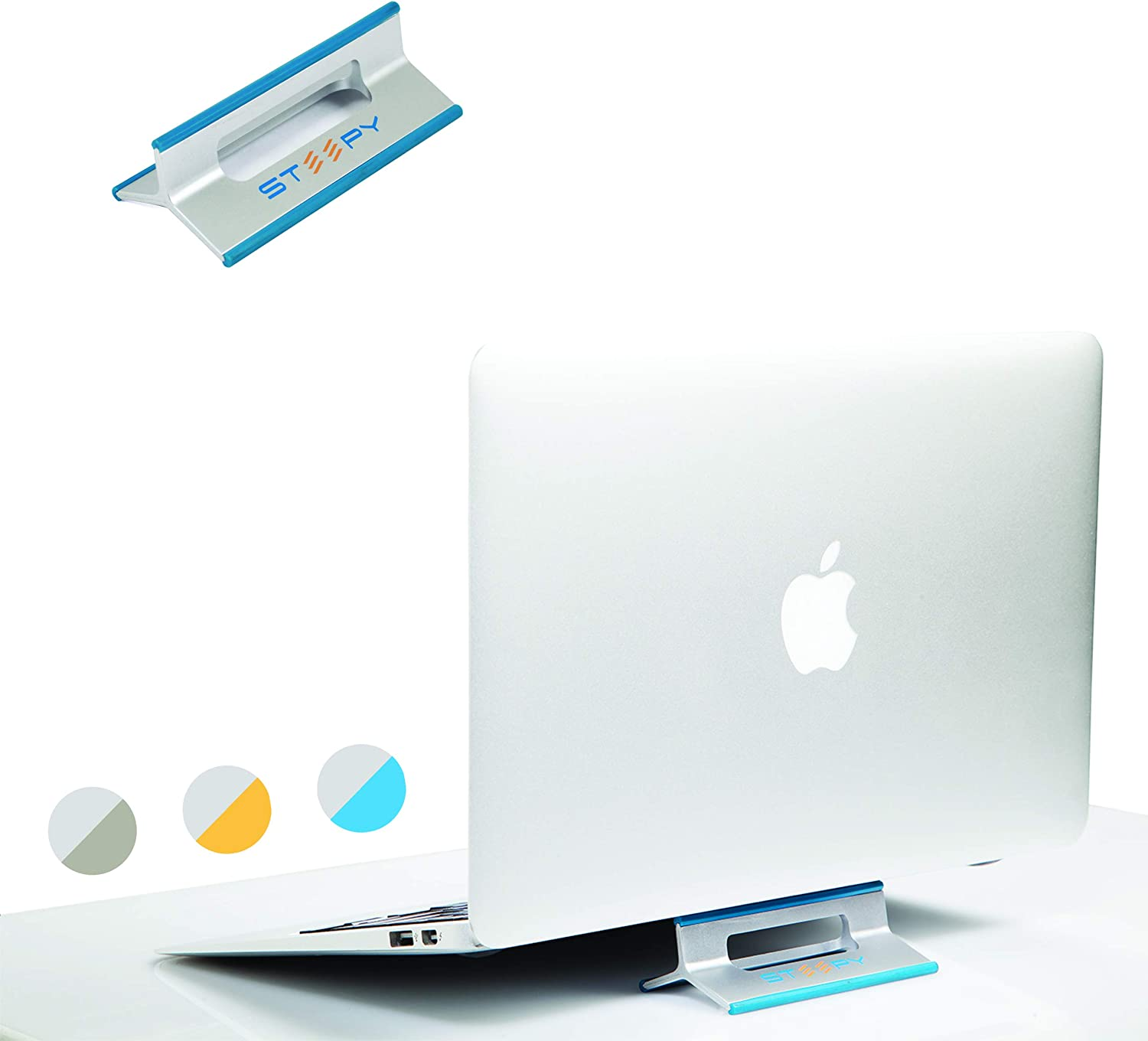 Steepy Stand Riser Ventilated Desk Accesory for Laptop | Notebook | Smartphone | iPad (Blue Ocean)