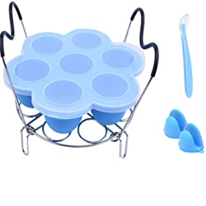 Instant Pot Accessories, Silicone Egg Bites Molds Tray and Steamer Rack with Heat Resistant Handles,for 6qt & 8qt Pressure Cooker - 2pcs/set with 1 Bonus Spoon + 2 Oven Mitts (Blue)