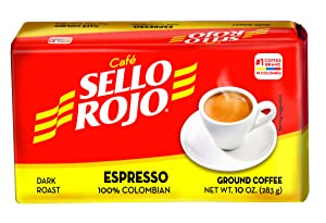 Café Sello Rojo Espresso | 100% Colombian Dark Roast Ground Arabica Coffee | Freshly Vacuum Sealed in Bricks | 10 Ounce (Pack of 1)