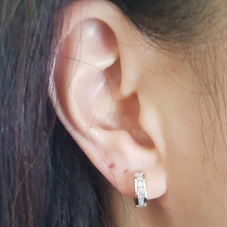 Dazzlingrock Collection 0.50 Carat (ctw) 10K Round Diamond Ladies Mens Unisex Huggie Hoop Earrings 1/2 CT, White Gold by Dazzlingrock Collection (Image #6)