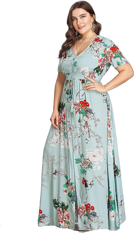 Women Long Sleeve Holiday Button Down Shirt Dress Loose Party Long Maxi Dress US