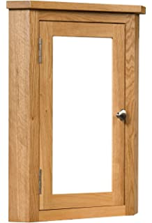 Solid Oak Tall By Wide Single Mirror Door Corner Wall