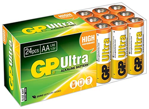 GP Batteries Ultra High Performance AA Battery - Chrome/Black/Red (Pack of 24)