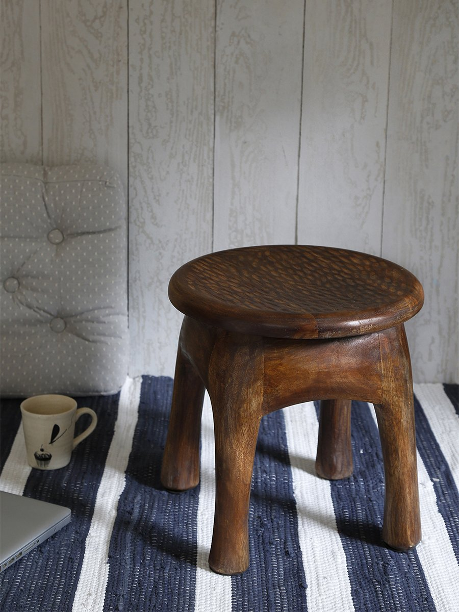 Cyber Monday Vintage Style Wooden Stool Hand Carved with Timber Texture & Walnut Finish Sturdy Lightweight Home Kids Room Furniture Decor