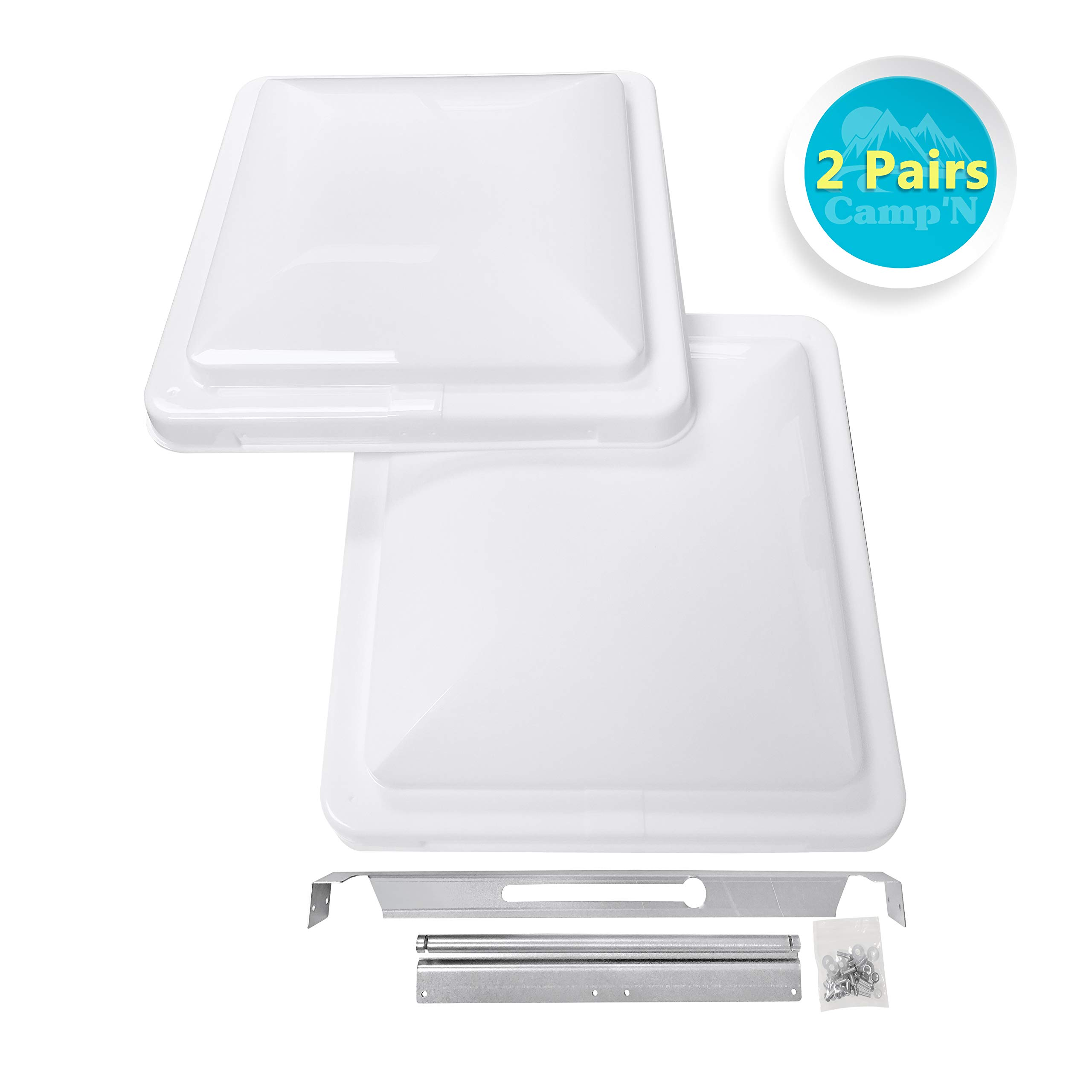 Camp'N 14'' Universal RV, Trailer, Camper, Motorhome Roof Vent Cover - Vent Lid Replacement (White 2 Pack)