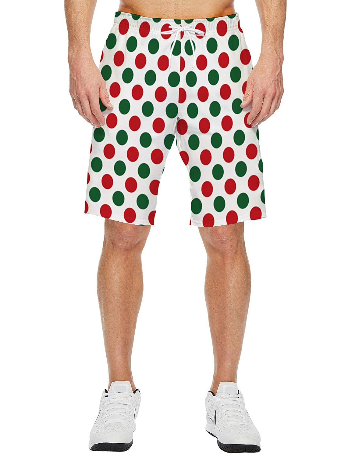 Polka Dot RortyM Mens Beach Short Elastic Waist Quick Dry Swim Trunks Mesh Lining
