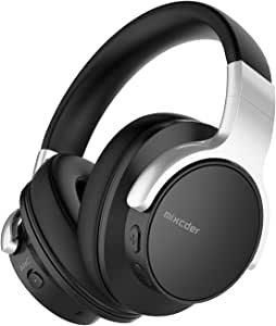 Mixcder E7 Active Cancelación de Ruido Auriculares Bluetooth con Micrófono Hi-Fi Deep Bass Auriculares Inalámbricos sobre el Oído, Cómodo Protein Earpads, para PC/Teléfonos Celulares/TV - Negro