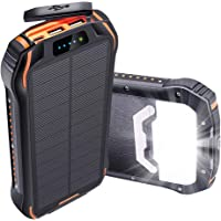 Oxsaytee 26800mAh Solar Power Bank, IP66 Waterproof Portable Solar Charger Outdoor Phone Chargers with LED Light, Huge…