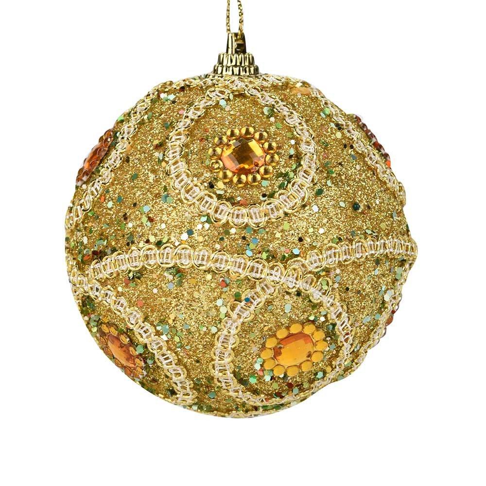 Hot AIMTOPPY Christmas Rhinestone Glitter Baubles Balls Xmas Tree Ornament Decoration 8CM (gold, free)