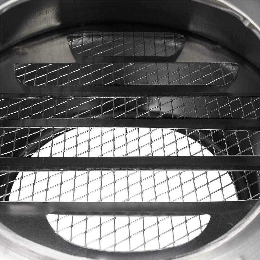 aire fresco campana de escape Cubiertas de rejilla de ventilaci/ón de acero inoxidable SENRISE para rejilla de ventilaci/ón de pared redonda de metal para el escape de pared exterior plateado