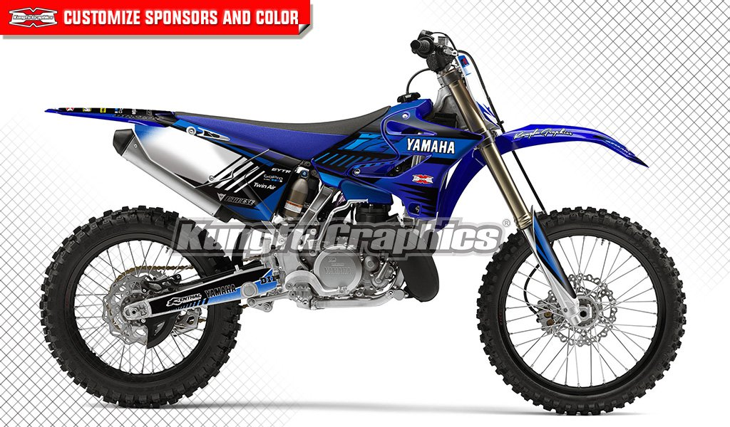 Kungfu Graphics Custom Decal Kit for Yamaha YZ125 YZ250 2015 2016 2017 2018, White Blue