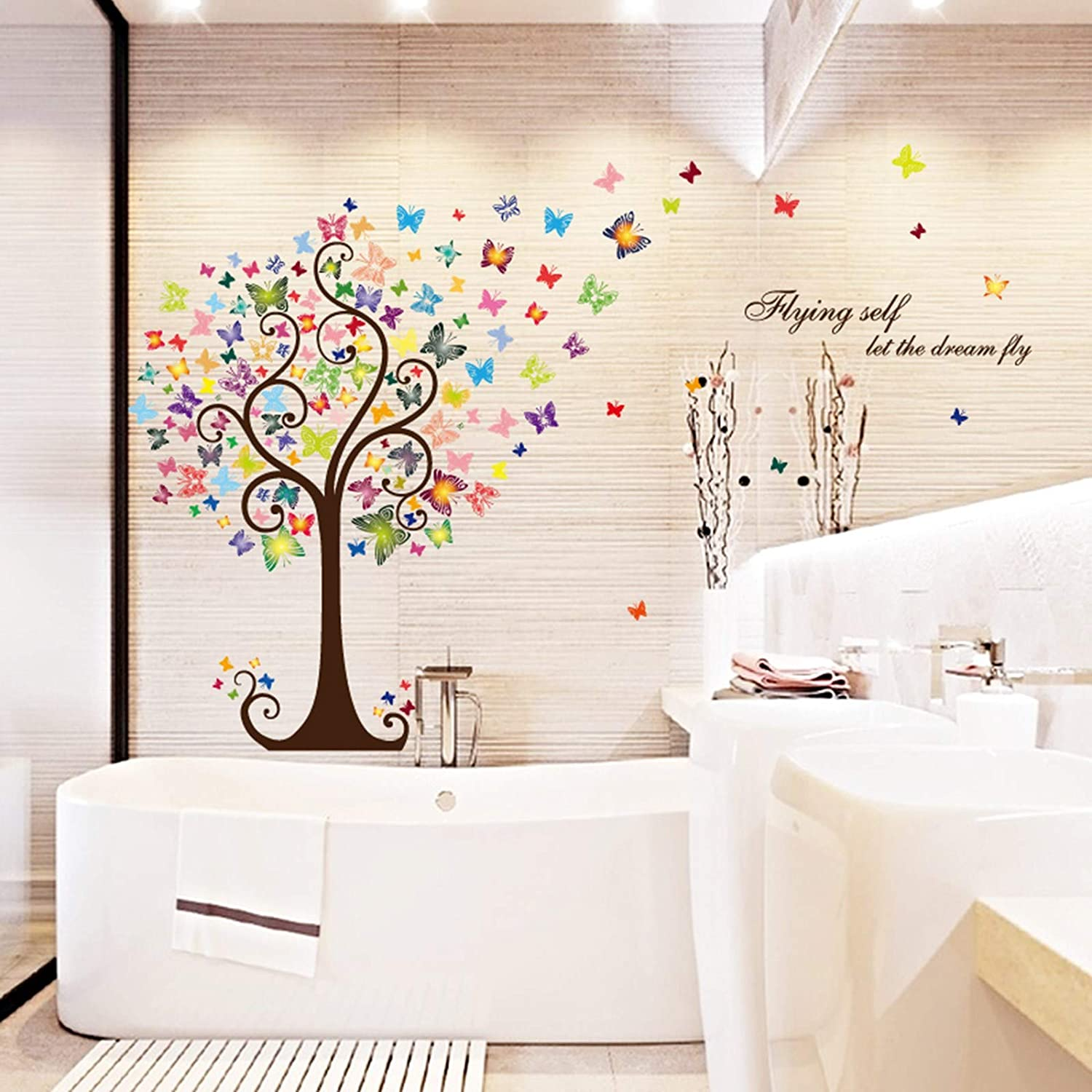 Cartoon Heart Tree Butterfly Wall Decals Removable Wall Decor Decorative Painting Supplies Wall Treatments Stickers for Girls Kids Living Room Bedroom