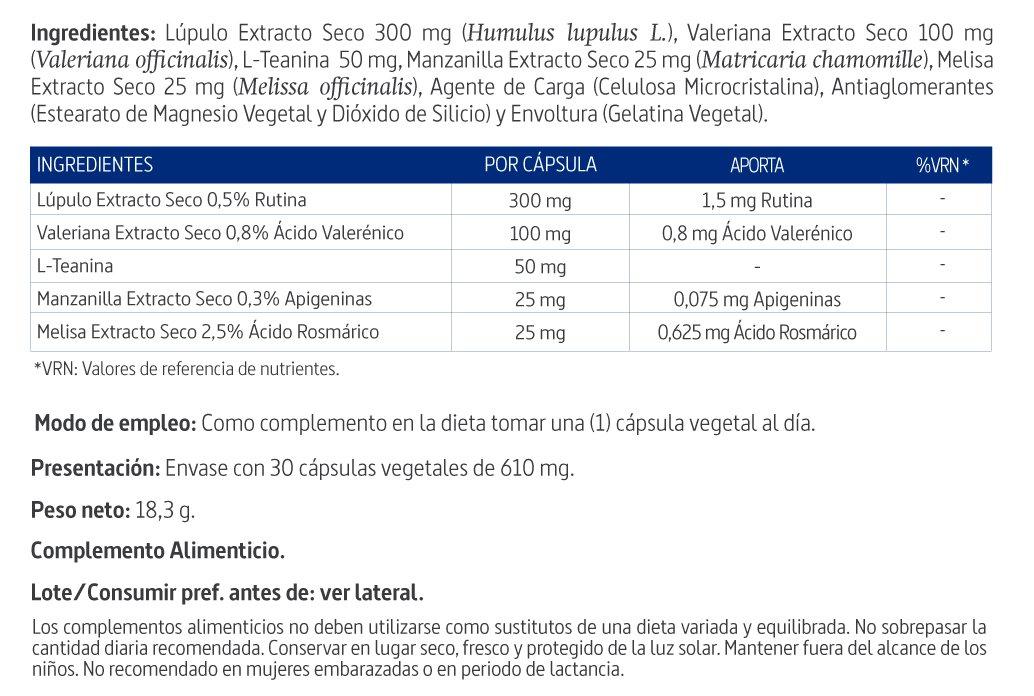 Soñaline® complex 500 mg con lúpulo, valeriana, melisa ...