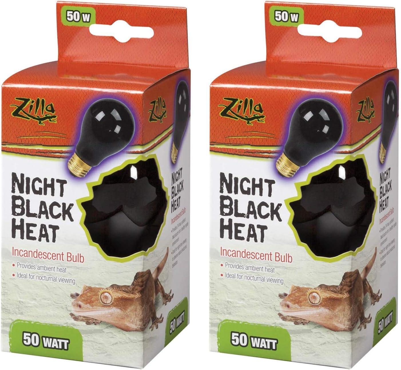 Zilla Night Black Heat Incandescent Bulb for Reptiles [Set of 2] Watt: 50 Watts