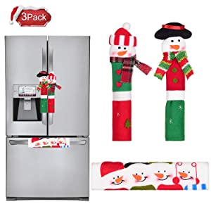 TINGOR 3 Pack Snowman Kitchen Appliance Handle Covers, Christmas Decorations for Door Refrigerator Microwave Oven