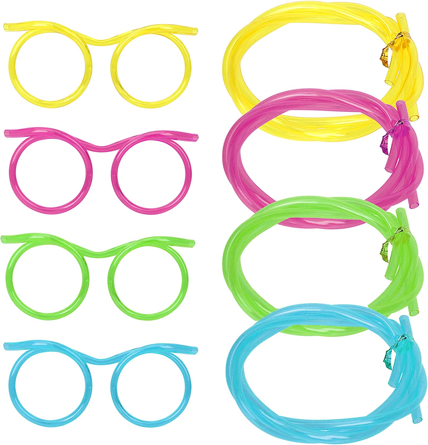MOTZU 4 Pieces Silly Straws, Novelty Flexible Soft Drink Eyeglasses, Fun Party Drinking Straw Eye Glasses, Crazy Funky Drinking Tube For Party Supplies, Children Kids Birthday (Random Color)