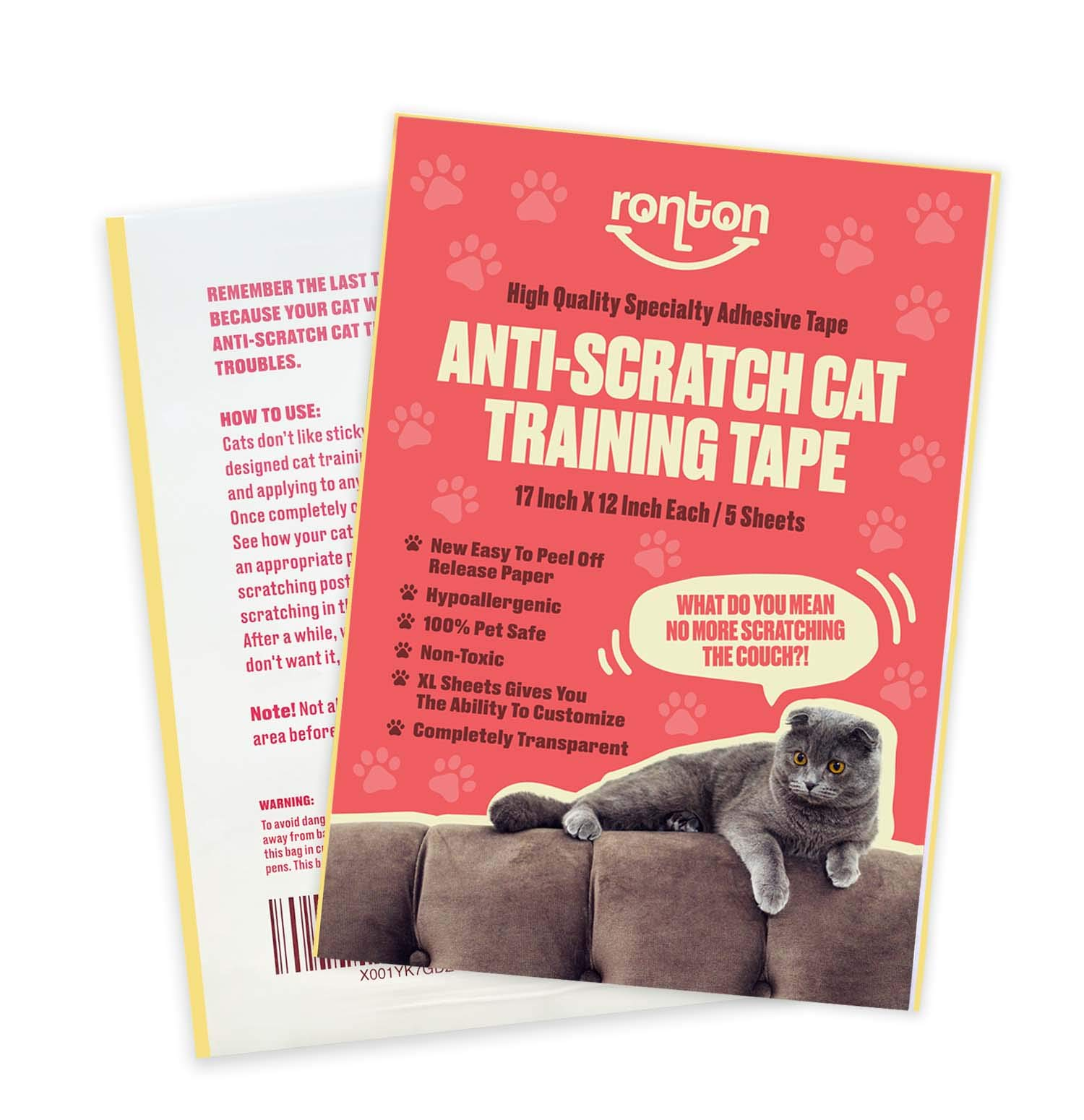 Ronton Cat Scratch Deterrent Tape – 12 in X 17 in Anti Scratch Tape for Cats (5 Sheet) | 100% Transparent Clear Double…