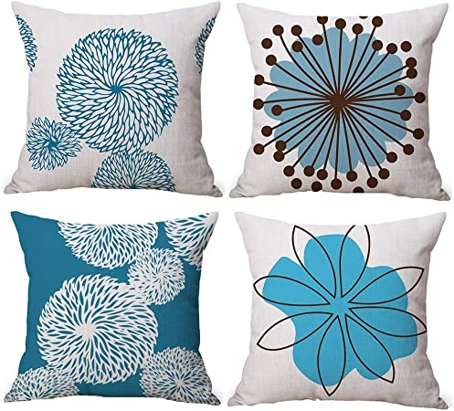 Gspirit 4 Pack Flor Sencillo Estilo Algodón Lino Throw Pillow Case Funda de Almohada para Cojín 45x45 cm: Amazon.es: Hogar