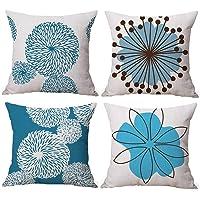 Gspirit 4 Pack Flor Sencillo Estilo Algodón Lino Throw Pillow Case Funda de Almohada para…