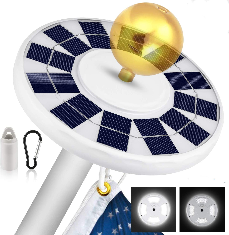 Solar Powered Flag Pole Light 108 LED Flagpole USA Night Super Bright Waterproof