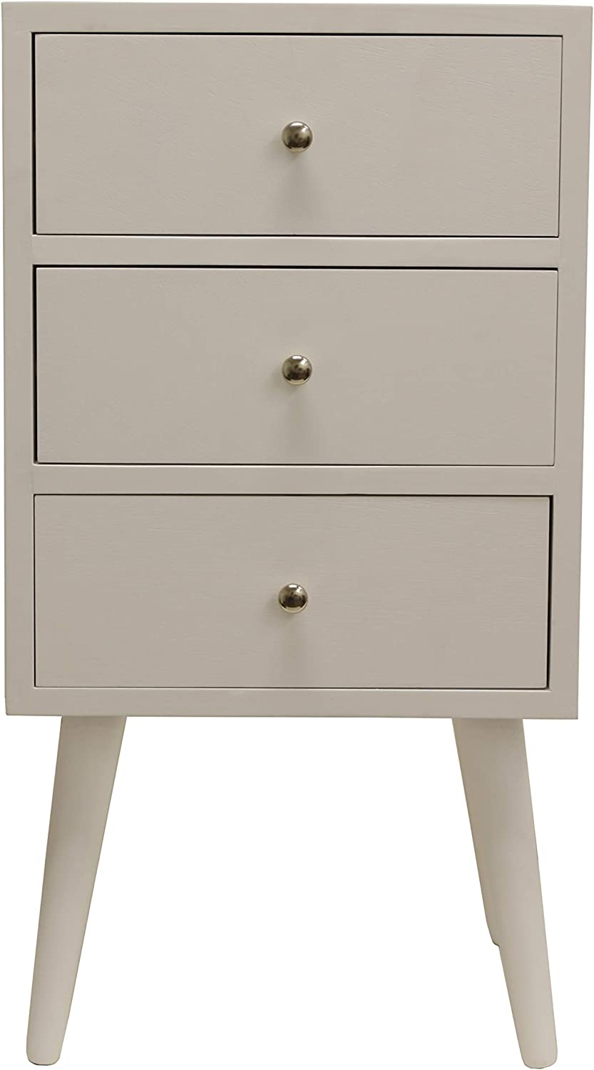 Decor Therapy FR8614 Side Table, Size: 15w 11.8d 27.5h, Gloss White