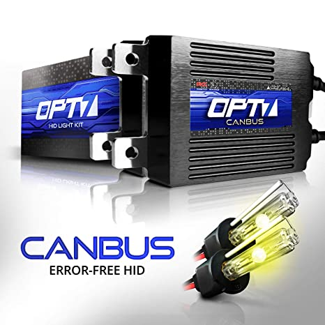 OPT7 Boltzen AC CANbus H3 HID Kit - 5X Brighter - 6X Longer Life - All Bulb  Sizes and Colors - 2 Yr Warranty [3000K Yellow Xenon Light]