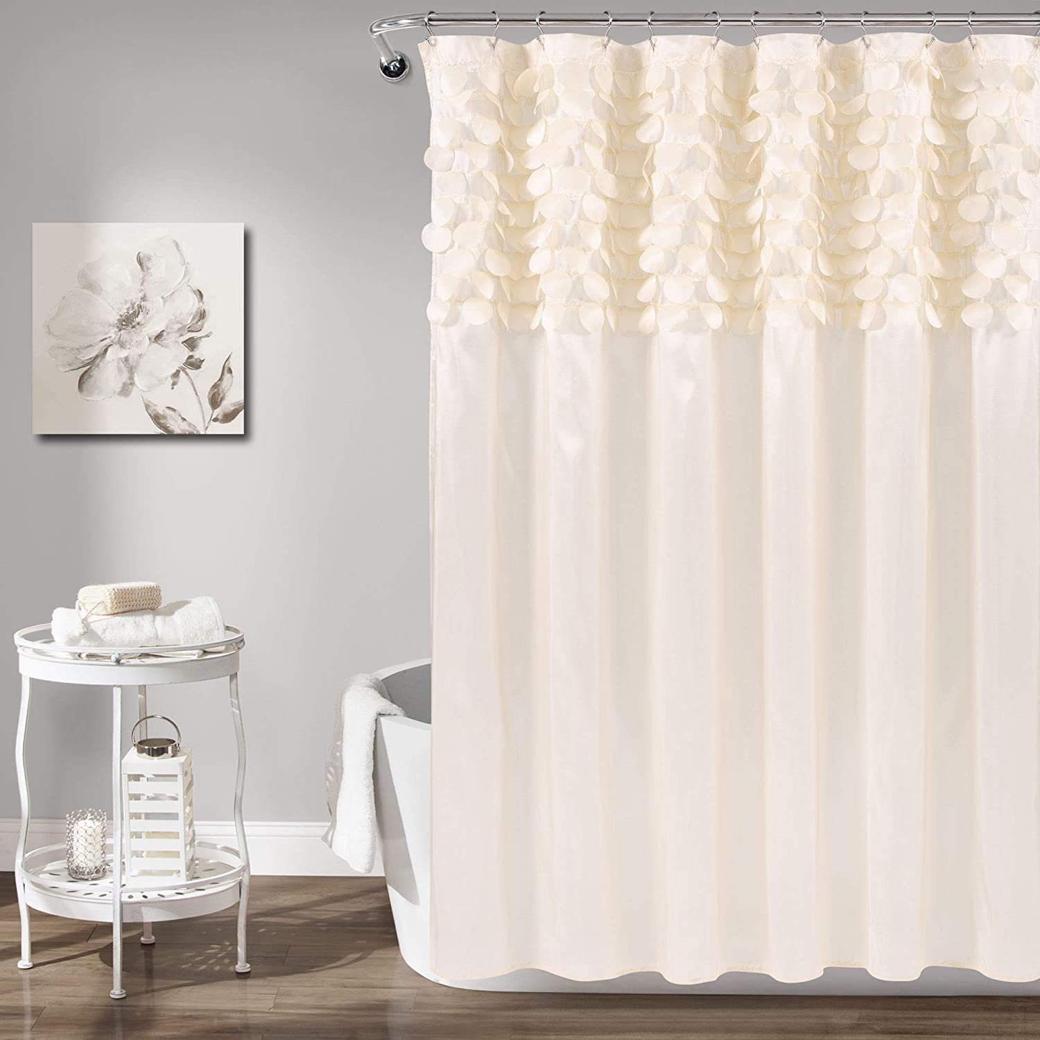 "Lush Decor Lillian Shower Curtain | Textured Shimmer Circle Design Bathroom, 72"" x 72"", Beige"